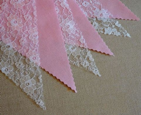 BUNTING - Plain Pink & White Floral Lace - 3m/10ft or 5m/16ft